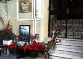 İranın Bakıdakı səfirliyinin bayrağı endirilib, qapısı önündə matəm guşəsi yaradılıb...